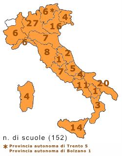 mappa delle regioni dove ci sono scuole che hanno aderito al concorso